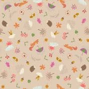 Lewis & Irene - Whatever The Weather - 6412 - Autumn Motifs on Beige - A372.1 - Cotton Fabric
