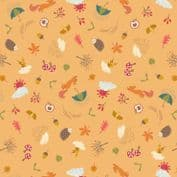 Lewis & Irene - Whatever The Weather - 6414 - Autumn Motifs on Orange - A372.3 - Cotton Fabric