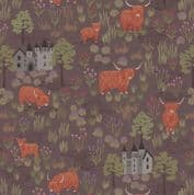 Loch Lewis - 7571 - Lewis & Irene A538.3 -  Cattle and Castles on Brown Cotton Fabric