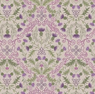 Loch Lewis - 7578 - Lewis & Irene A541.1 - Purple Thistle on Natural Cotton Fabric