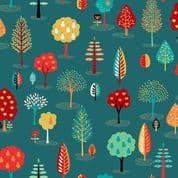 Makower Folk Friends  - 7333 - Trees on Turquoise 2305.T - Cotton Fabric