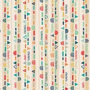 Makower Folk Friends  - 7335 - Scallop Stripe on Cream 2306.Q - Cotton Fabric