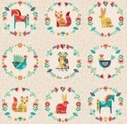 Makower Folk Friends - 7339 - Panel on Cream  2308.Q - Cotton Fabric