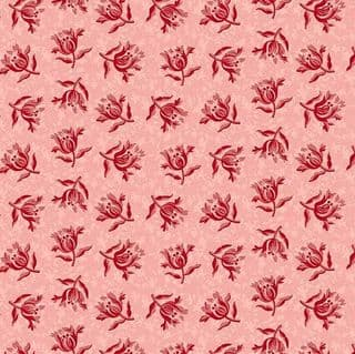 Makower UK - Little Sweetheart - 6085 - Peony Floral, Red on Dusky Pink - 8829_E - Cotton Fabric