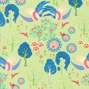 Manderley by Franny and Jane - 5037 - Blue Cranes on Pale Green - 47502 16 - Cotton Fabric