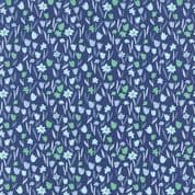 Moda Aria by Kate Spain - 4561 - Pale Blue and Green Tulips on Navy - 27236 16 - Cotton Fabric