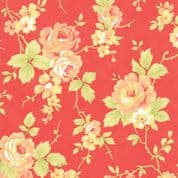 Moda - Catalina  by Fig Tree - 7239 - Roses on Red background - 20370.11 - Cotton Fabric