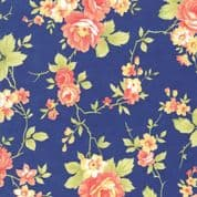 Moda - Catalina  by Fig Tree - 7240 - Roses on Dark Blue Background - 20370.12 - Cotton Fabric