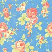 Moda - Catalina  by Fig Tree - 7241 - Roses on Sky Blue Background - 20370.13 - Cotton Fabric