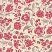 Moda - Chafarcani by French General - 6863 - Claret Floral, Red on Cream - 13853 12 - Cotton Fabric
