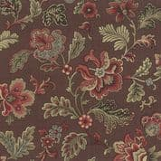 Moda Le Marais by French General - 4333 - Floral, French Red on Brown - 13550 25  - Cotton Fabric