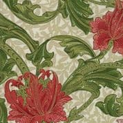 Moda - Morris Holiday Metallic - 5872 - V&A  Floral, Red & Green on Cream - 7310 11M - Cotton Fabric