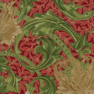 Moda - Morris Holiday Metallic - 5873 - V&A  Floral, Beige & Green on Red - 7310 14M - Cotton Fabric