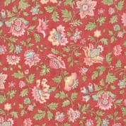 Moda - Porcelain - 3 Sisters - 6329 - Flourish,  Floral on Red - 44191 16- Cotton Fabric