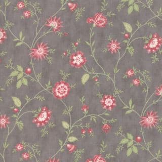Moda - Porcelain - 3 Sisters - 6333 - Heirloom Floral on Grey - 44193 12 - Cotton Fabric