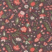 Moda Quill by 3 Sisters - 5604 - Flourish, Coral Floral on Deep Plum - 44153 16 - Cotton Fabric