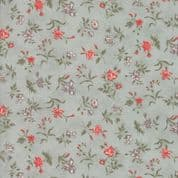 Moda Quill by 3 Sisters - 5608 - Blossom, Coral Floral on Pale Mint - 44154 14 - Cotton Fabric