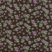 Moda - Summer on The Pond by Holly Taylor - 5724 - Lilypad Floral , Brown  - 6721 19 - Cotton Fabric
