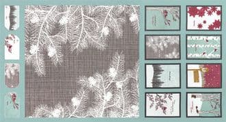 Moda Winters Lane  - 2751 -  Cushion and Bunting Panel on Duck Egg 13090-13 100% Cotton Fabric