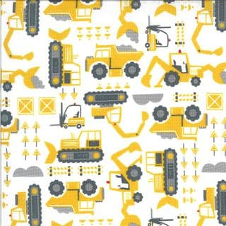 On the Go - 7539 - Moda 20724.11 -  Yellow Diggers on White  Cotton Fabric