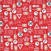 On the Go - 7541 - Moda 20725.16 -  Road Signs on Red  Cotton Fabric
