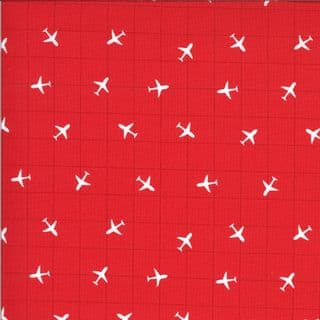 On the Go - 7545 - Moda 20726.16 -  Small Airplanes on Red Cotton Fabric