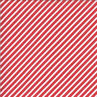 On the Go - 7546 - Moda 20727.16 -  Red Diagonal Dotted Road Stripe  on White  Cotton Fabric
