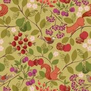 Orchard by Lewis & Irene - 7342 - Orchard on Green A495.2 - Squirrels - Cotton Fabric
