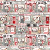 Pamper 7456 - Makower 2309.1 - Shop Fronts on White Cotton Fabric
