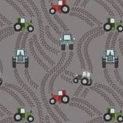 Piggy Tales - 7654 - Lewis & Irene A533.3 -  Tractor Trails on Grey Cotton Fabric
