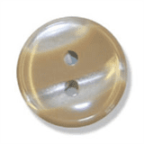 Polyester Striped Button - Beige and White - 12mm