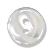 Polyester Striped Button - White - 12mm
