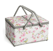 Premium Twin Lid Sewing Box with Beautiful Birds & Floral Print (Large)
