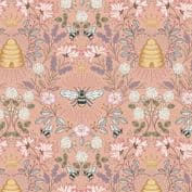 Queen Bee - 7617 - Lewis & Irene A500.2 -  Beehive on Peach Cotton Fabric