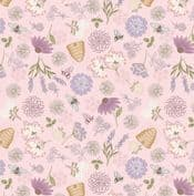 Queen Bee - 7628 - Lewis & Irene A504.1 -  Bee Floral on Pink Cotton Fabric