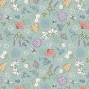 Queen Bee - 7629 - Lewis & Irene A504.2 -  Bee Floral on Duckegg Blue Cotton Fabric