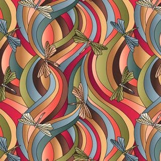Reflections - 7592 - Lewis & Irene A514.3 Earth Tones Dragonfly Cotton Fabric