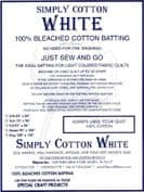 "Simply Cotton White Quilt Wadding - 90"" wide x 18.3m long bolt - 100% cotton"