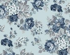 W108617 - Tranquility Roses on Dusk Light Blue  - Extra Wide Cotton Fabric