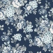 W108618 - Tranquility Roses on Navy Blue  - Extra Wide Cotton Fabric