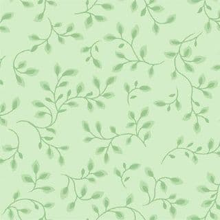 W108710 Extra Wide Cotton Fabric - Pale Green Leaf and Vine