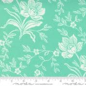 W108717 - Aqua Green Woodcut Floral by Fig Tree for Moda - Extra Wide Cotton Fabric