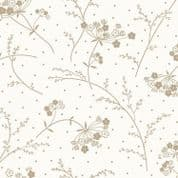 """W108838 - Taupe on Soft White Floral Sprig - 108"""" Extra Wide Backing Cotton Fabric"""