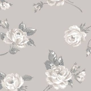 W108923 Extra Wide Cotton Fabric - Large Roses Scattered on Taupe