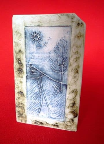 Carn Pottery Picture Ridged Box Vase