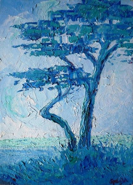 Joan Speight Pine Trees above Marazion oil painting