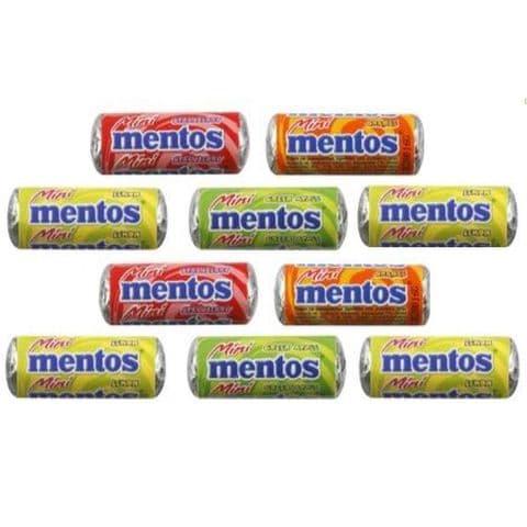 10 x Mini Mentos  Fruity Flavours Chewy Sweets 10.5g (Apple Lemon Orange Strawberry)