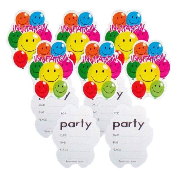 10 x Party Invitations With Envelopes Smiley Face Balloons Henbrandt