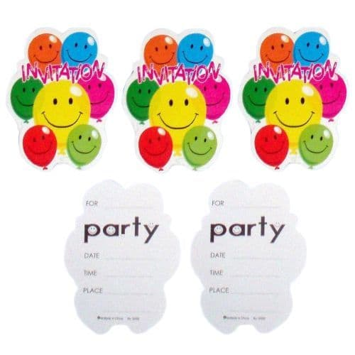 100 x Party Invitations With Envelopes Smiley Face Balloons Henbrandt  (20 x 5 Packs)