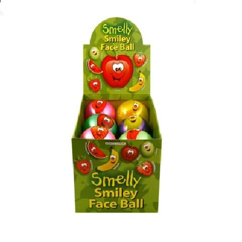 12 x Mini Smelly Fruits Smiley Face Play Balls 9cm Assorted Colours - Wholesale Box